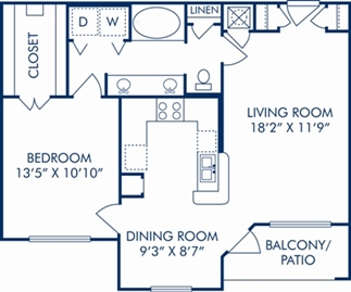 811 sq. ft. D floor plan