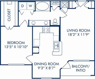811 sq. ft. D floor plan