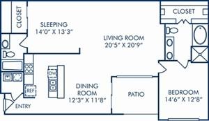 1,426 sq. ft. B5 floor plan