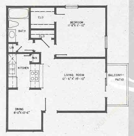 643 sq. ft. A3 floor plan