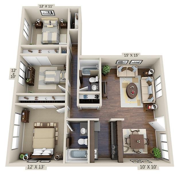 1,117 sq. ft. C-1 floor plan