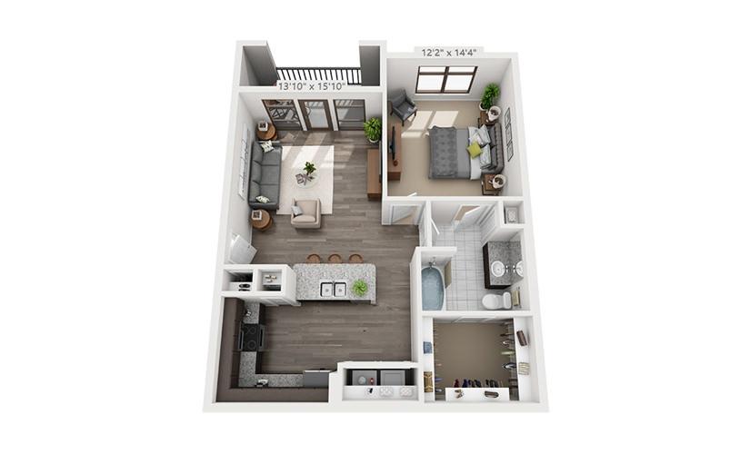826 sq. ft. A4 floor plan