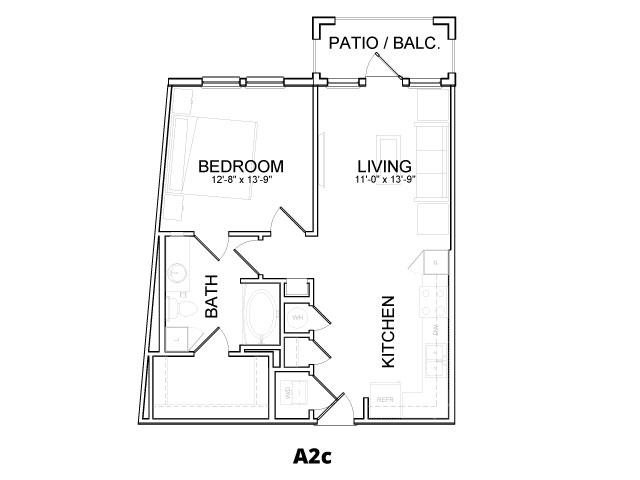 688 sq. ft. A2C floor plan