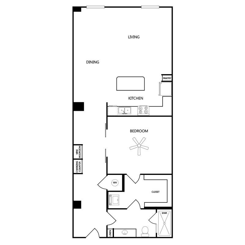 1,136 sq. ft. A7 floor plan