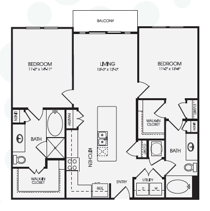 1,126 sq. ft. Retreat/B3B floor plan