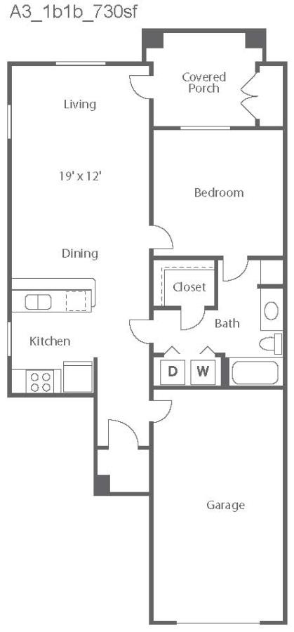 730 sq. ft. Florence/A3 floor plan