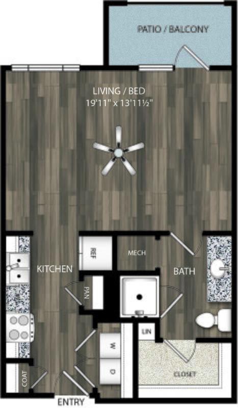 601 sq. ft. E1 floor plan