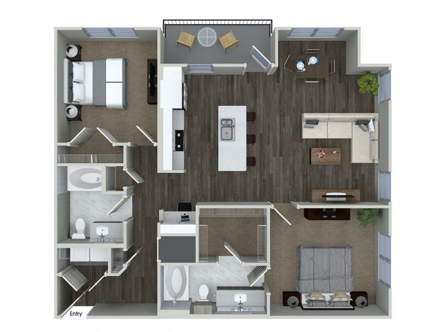 1,190 sq. ft. B6 floor plan