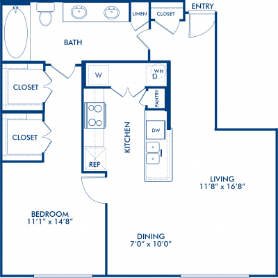 855 sq. ft. DALLAS floor plan