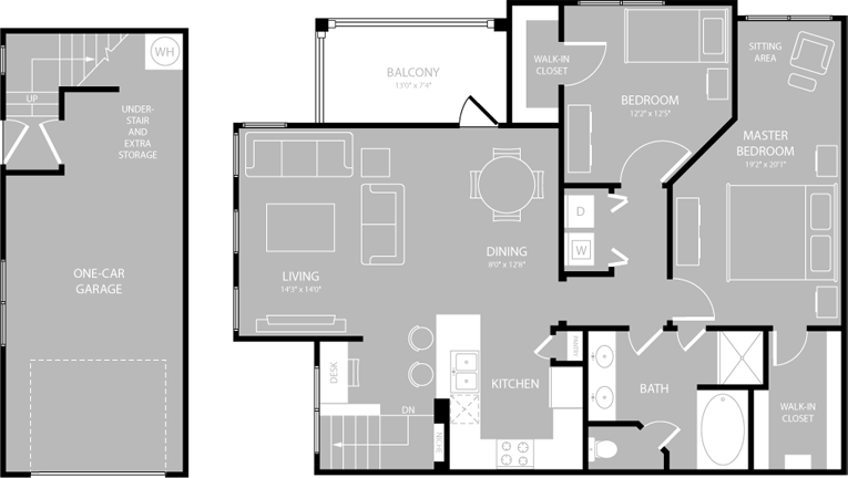 1,177 sq. ft. Medley floor plan
