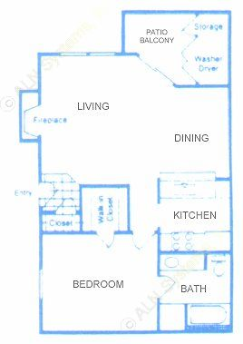 685 sq. ft. A floor plan