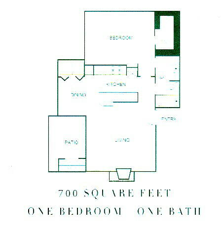 700 sq. ft. CLAREMONT floor plan
