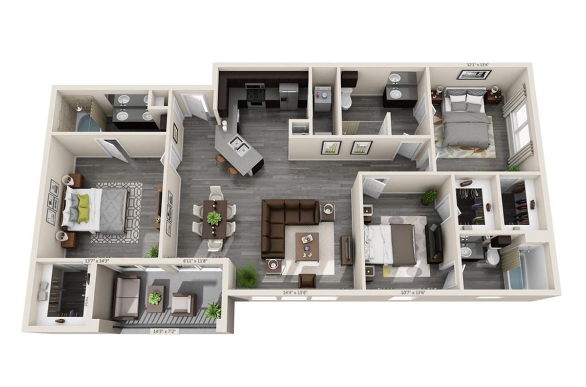 1,408 sq. ft. Cascade floor plan