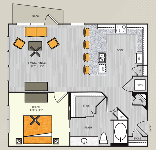 891 sq. ft. A4.2 floor plan