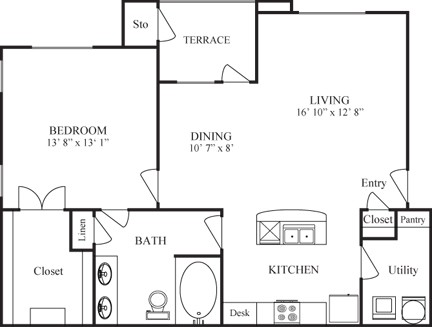 868 sq. ft. COLUMBUS floor plan