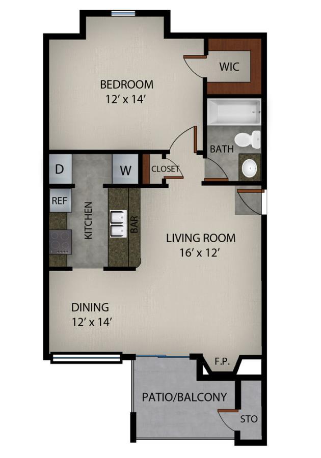 612 sq. ft. Atlantis floor plan