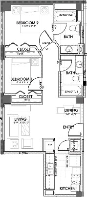 746 sq. ft. Texas.3 60% floor plan
