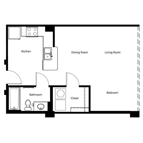 497 sq. ft. to 574 sq. ft. E1 floor plan