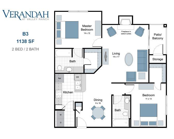1,138 sq. ft. B3 floor plan
