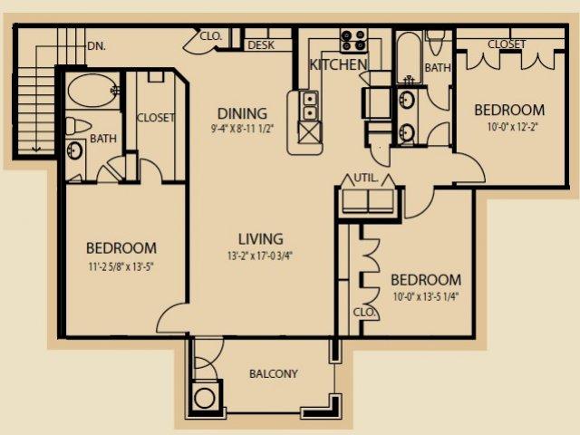 1,329 sq. ft. C2 floor plan