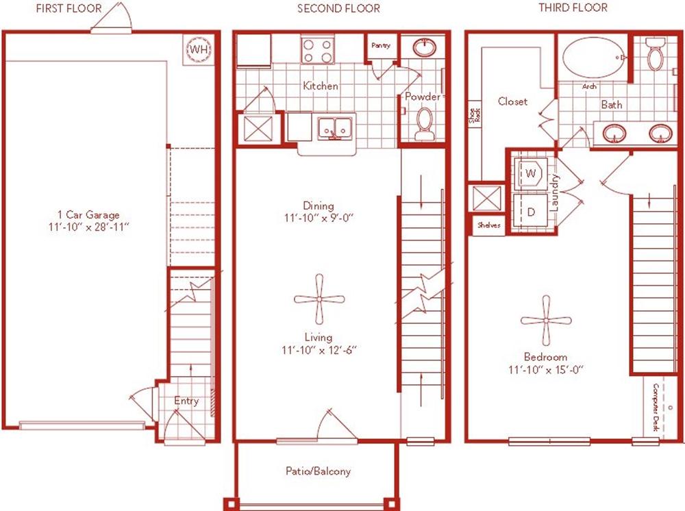 961 sq. ft. Bissonnet floor plan