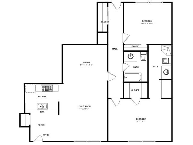 915 sq. ft. B5 floor plan