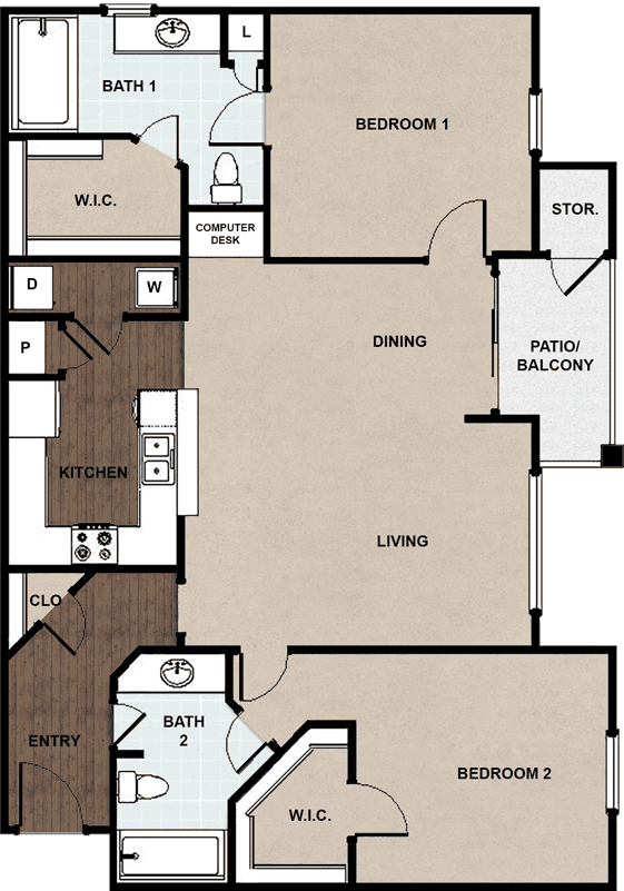 1,129 sq. ft. B floor plan