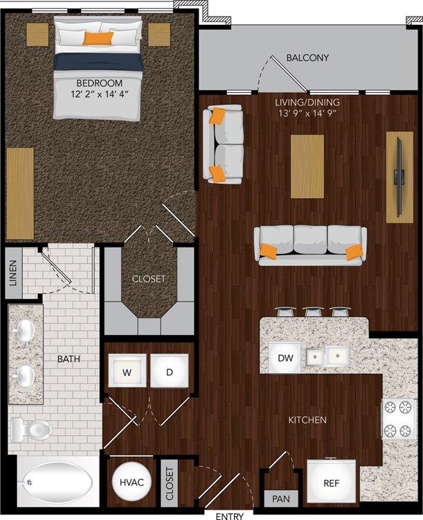 734 sq. ft. A12/A12B floor plan