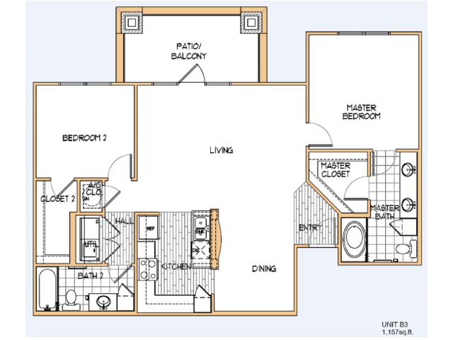 1,157 sq. ft. B3 floor plan