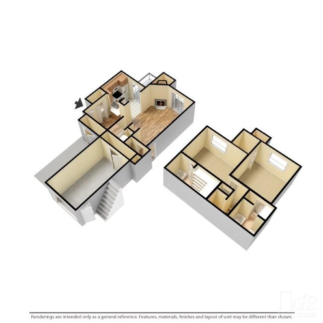 1,250 sq. ft. B4-G floor plan