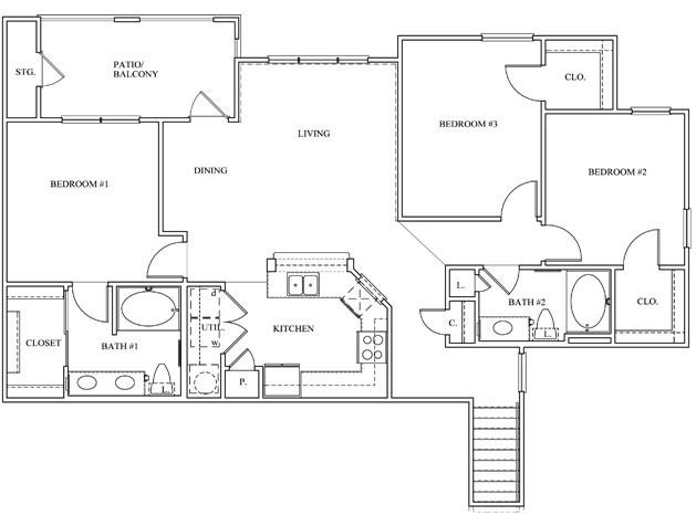 1,342 sq. ft. 32A floor plan