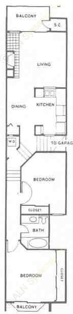 984 sq. ft. Breckenridge floor plan
