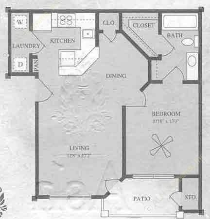 640 sq. ft. A1/60% floor plan