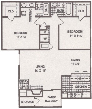1,029 sq. ft. floor plan
