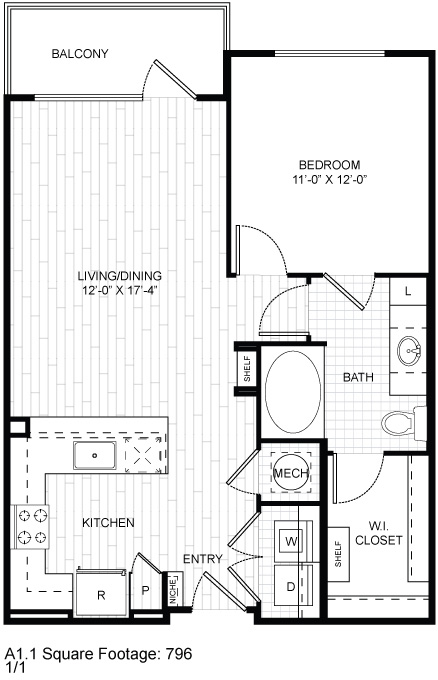 796 sq. ft. A1.1 floor plan