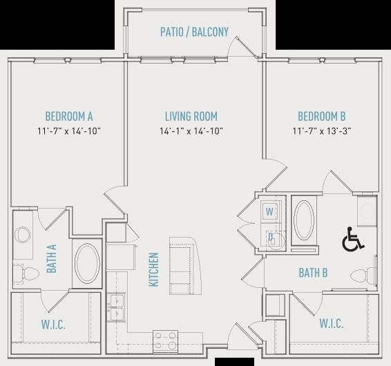 1,119 sq. ft. B2-ALT floor plan
