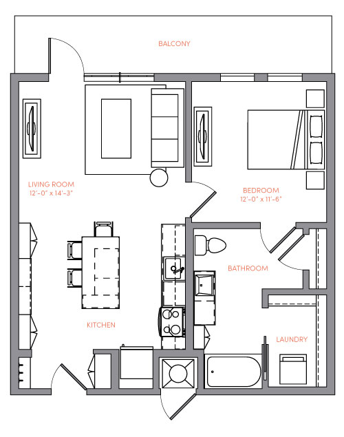732 sq. ft. A1A.10 floor plan