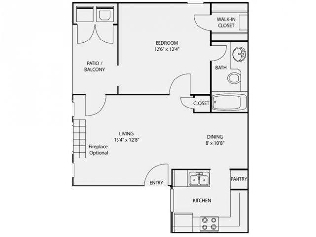 638 sq. ft. A2 floor plan