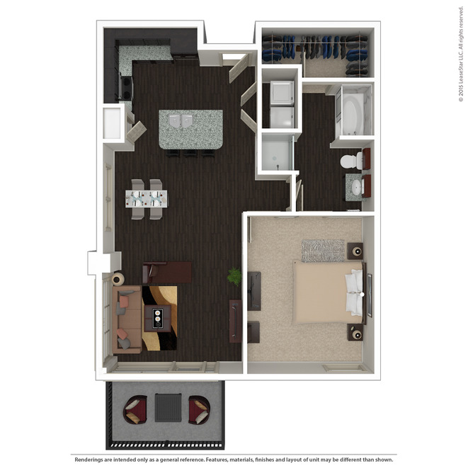 844 sq. ft. A3.1 floor plan