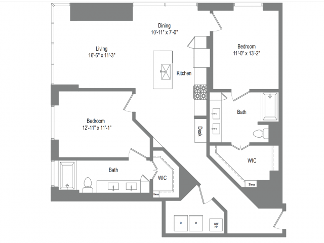 1,353 sq. ft. B5B floor plan