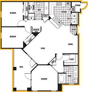 1,332 sq. ft. Castellon floor plan