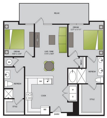 1,135 sq. ft. B1.2 floor plan