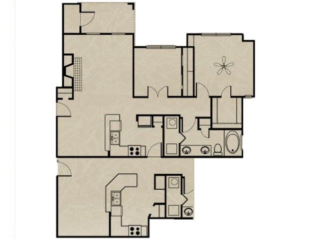 956 sq. ft. 1B/1B DEN/ GARAGE floor plan