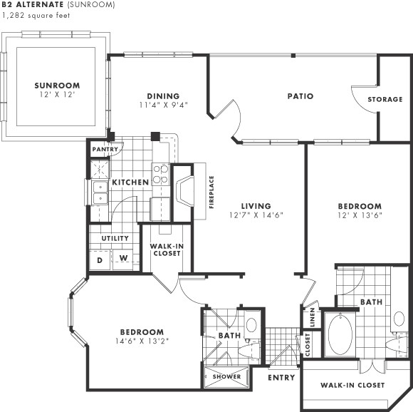 1,138 sq. ft. to 1,282 sq. ft. PH II floor plan