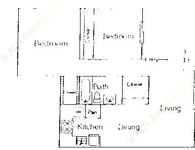 862 sq. ft. B1 floor plan