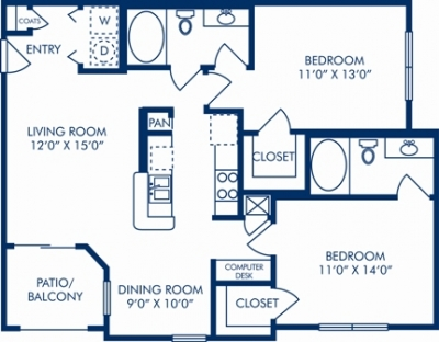 1,024 sq. ft. E floor plan