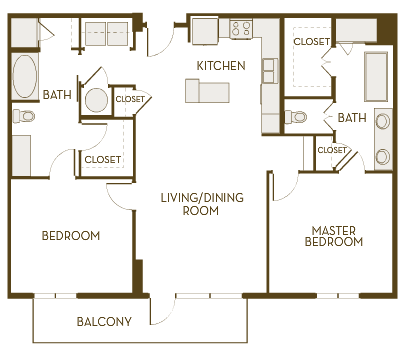 1,298 sq. ft. B2G floor plan