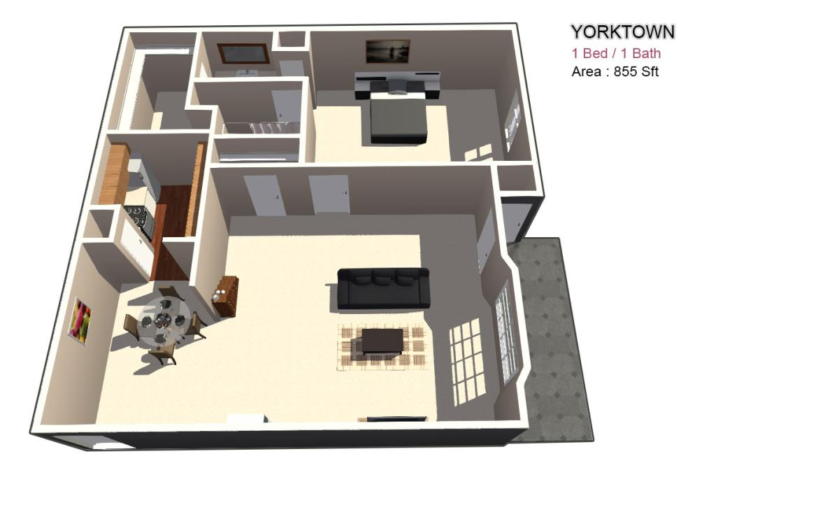 875 sq. ft. 1X1 floor plan