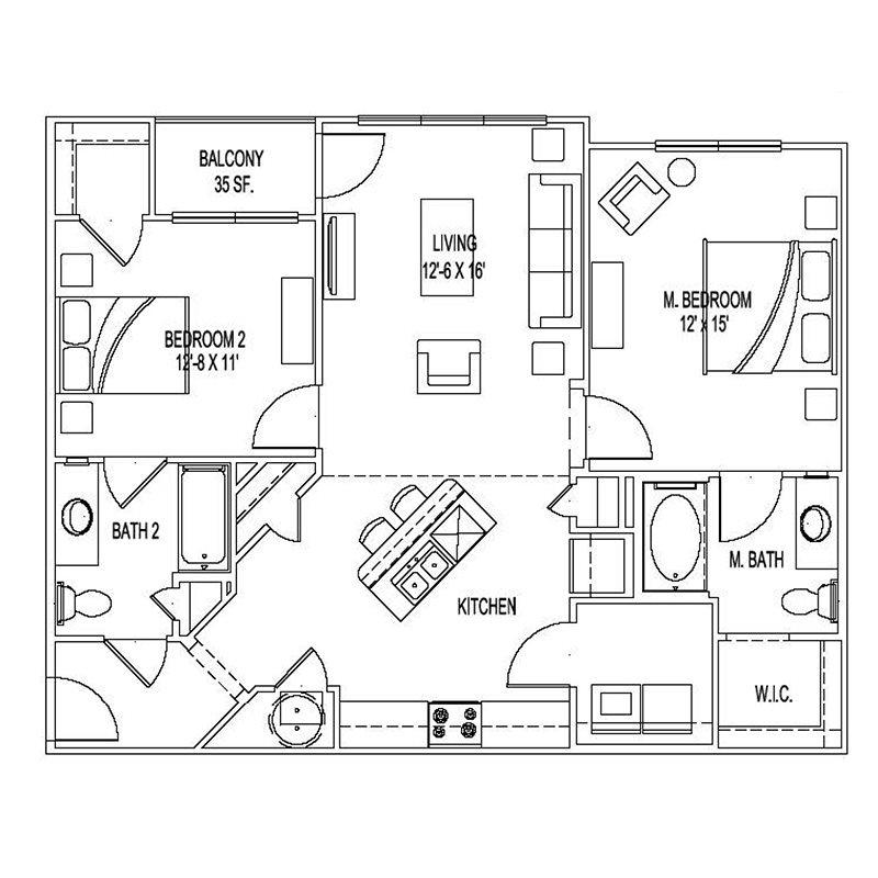 1,093 sq. ft. B3 floor plan