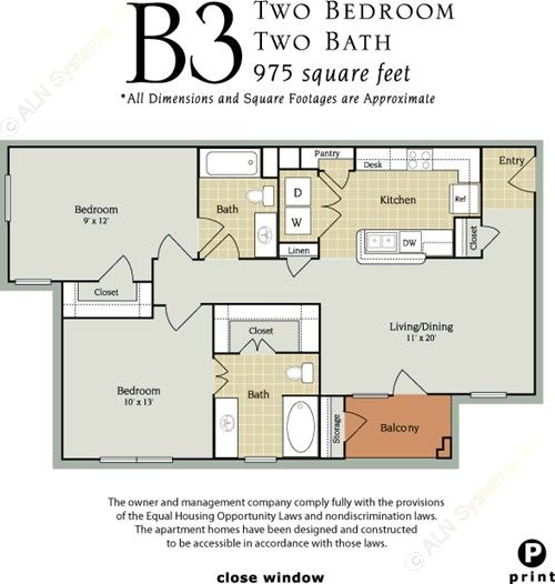 975 sq. ft. B1/60% floor plan
